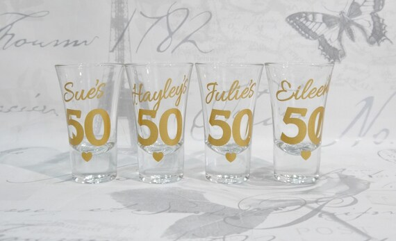Personalised 50th Birthday Shot Glasses