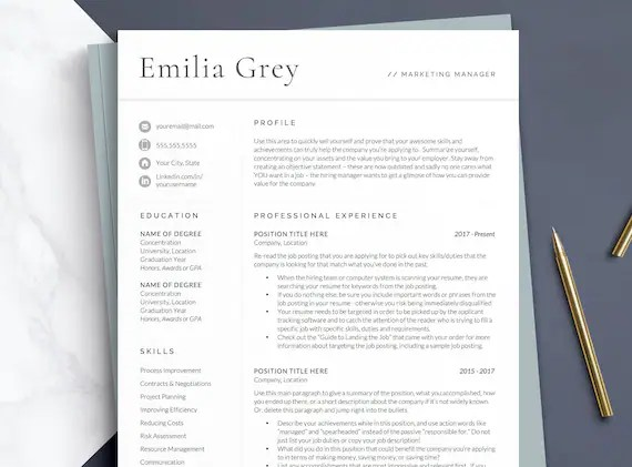 At the left sidebar, navigate to the stationery tab, scroll down to the resume section at the main column, then pick a resume template that you like. Professional Resume Template For Word And Mac Pages Cv Etsy