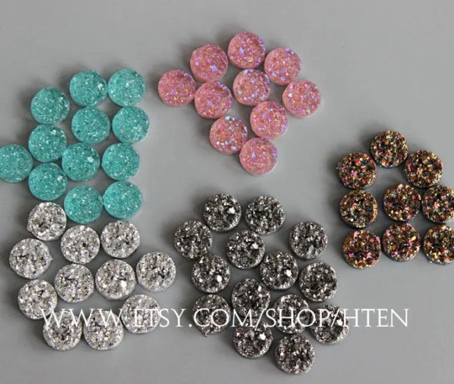 30pcs Resin Color Pink Blue Silver Gray Glitter Gold 12mm Cabochons 12mm Resin Druzy Cabochon Diy Resin 12mm Cabochons