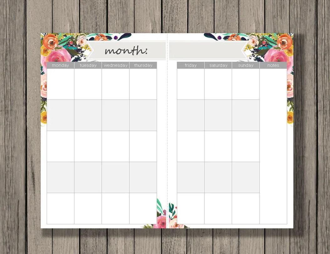 Monthly Calendar Printable A5 Size Monthly Calendar Across 2