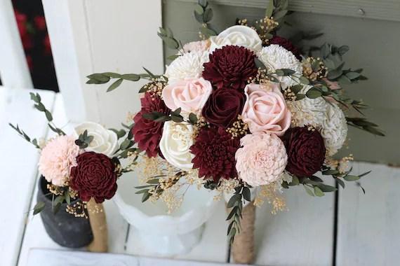 Budget Wedding Bouquets Burgundy Blush Pink Ivory Sola