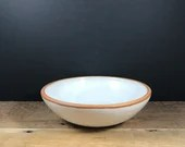 White bowl with raw clay rim - small