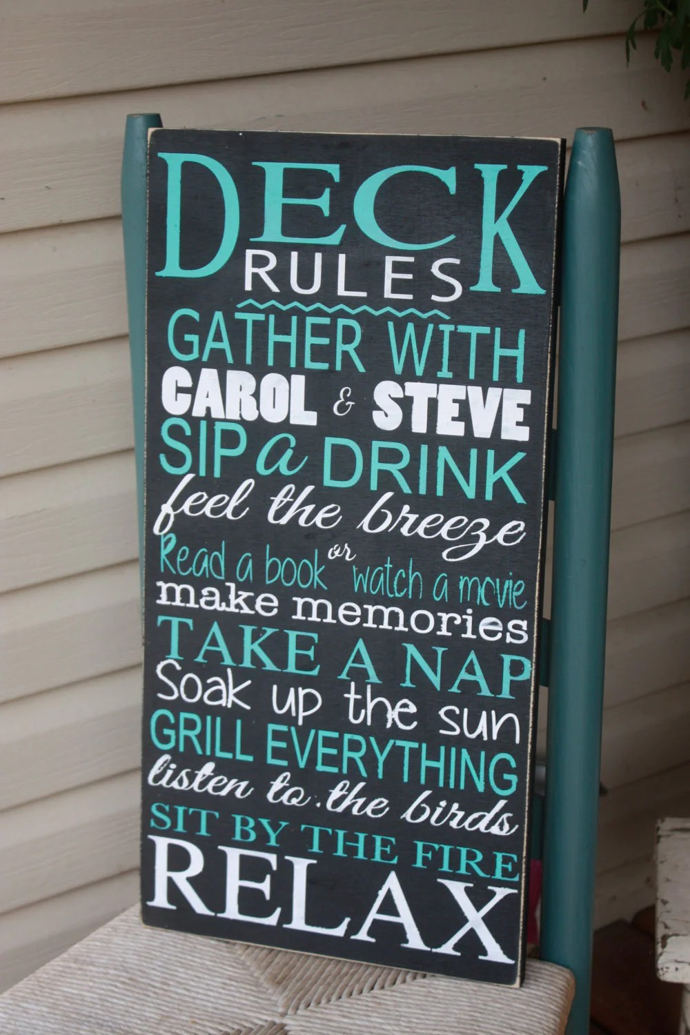 Deck rules sign patio rules personalized outdoor Wooden image 3