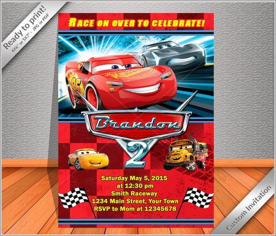 personalized cars birthday invitation