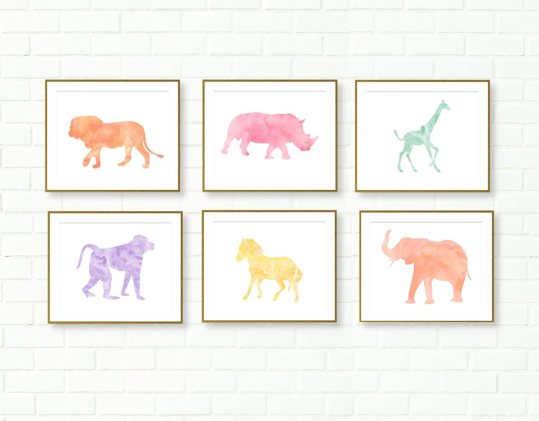 Safari Nursery Prints Printables African Animals Pastel
