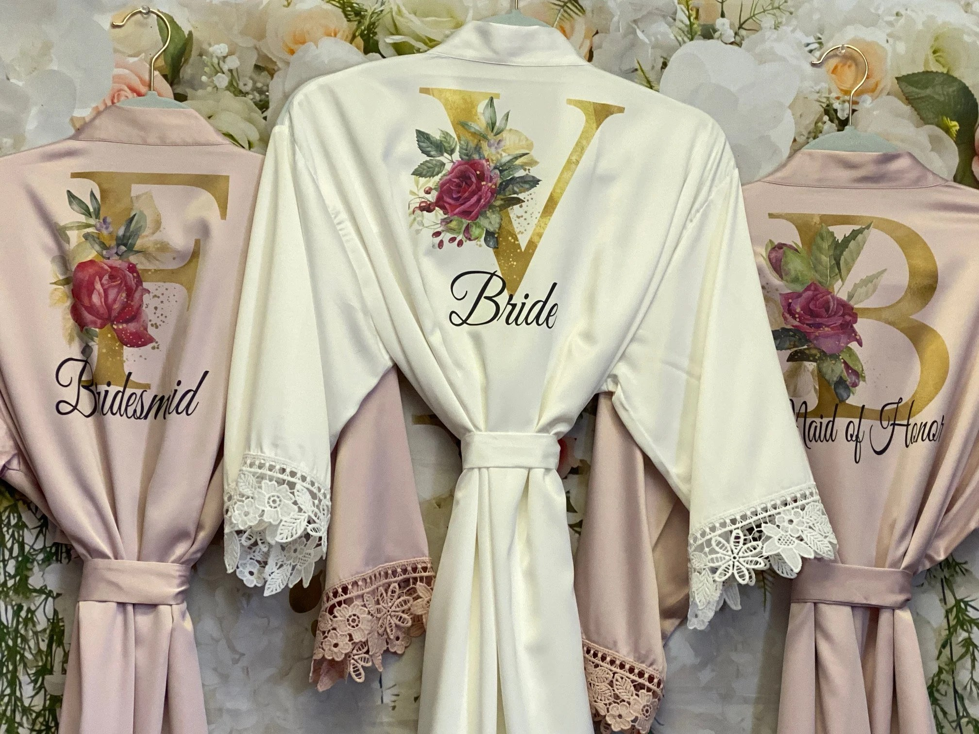 Bridesmaid Robes Bridal Robes Satin Dressing Gown YellowGold and Rose