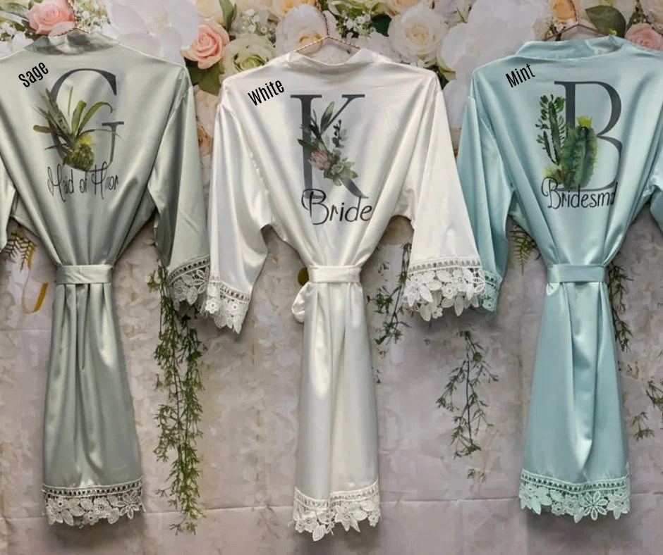 Bridesmaid Robes Bridal Robes Satin Dressing Gown Green Cactus Initial