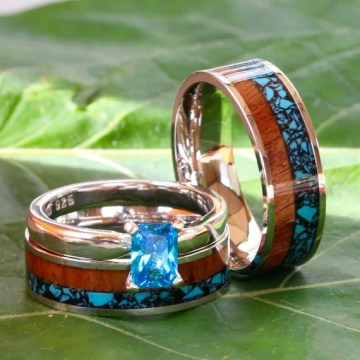 His and Her 3 piece Wedding Band Set Turquoise Koa Wood   Etsy image 0