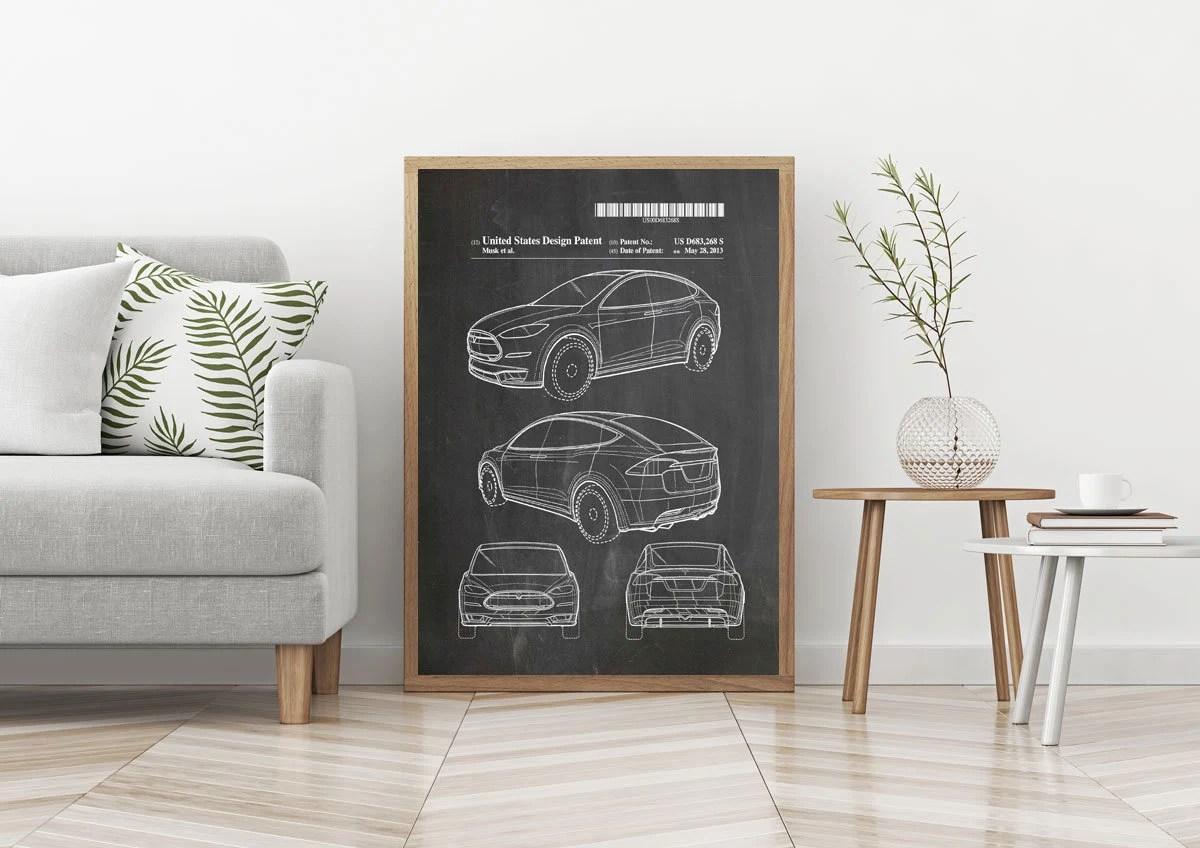 tesla car poster tesla car patent print