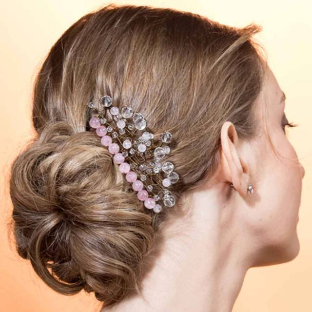 wedding comb wedding ceremony with rock crystal and rose quartz pink brass transparent romantic classic
