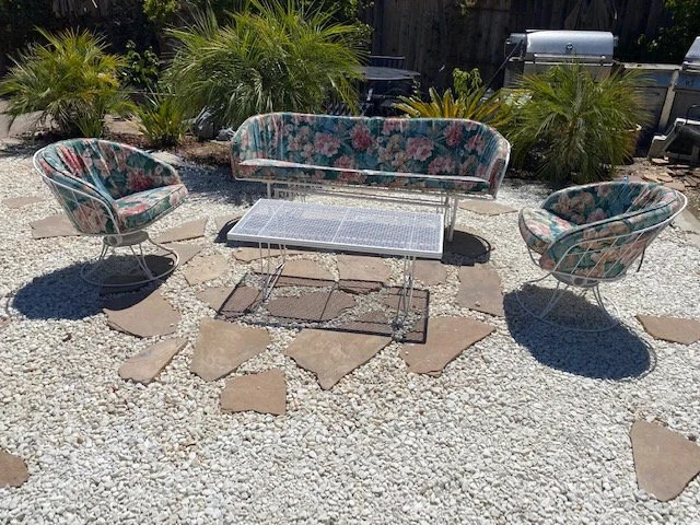 vintage mid century modern patio set by homecrest 4 piece set includes a glider sofa 2 rocking chairs and a coffee table circa 1960 s