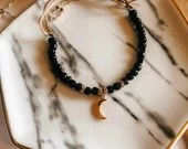 Black & rose gold beaded bracelet