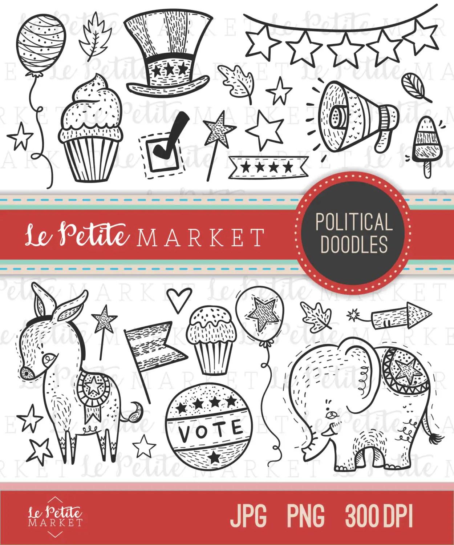 Cute Politics Clip Art Set Political Doodle Clip Art Svg
