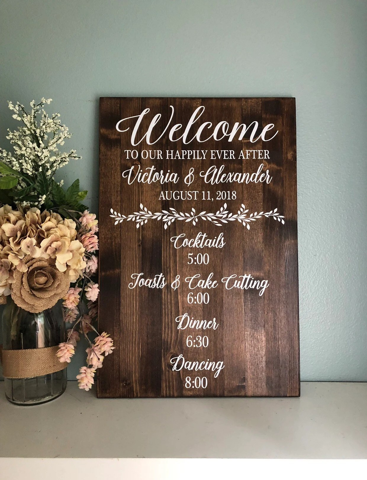 Wedding Day Events Sign Ceremony Order Of Events Sign