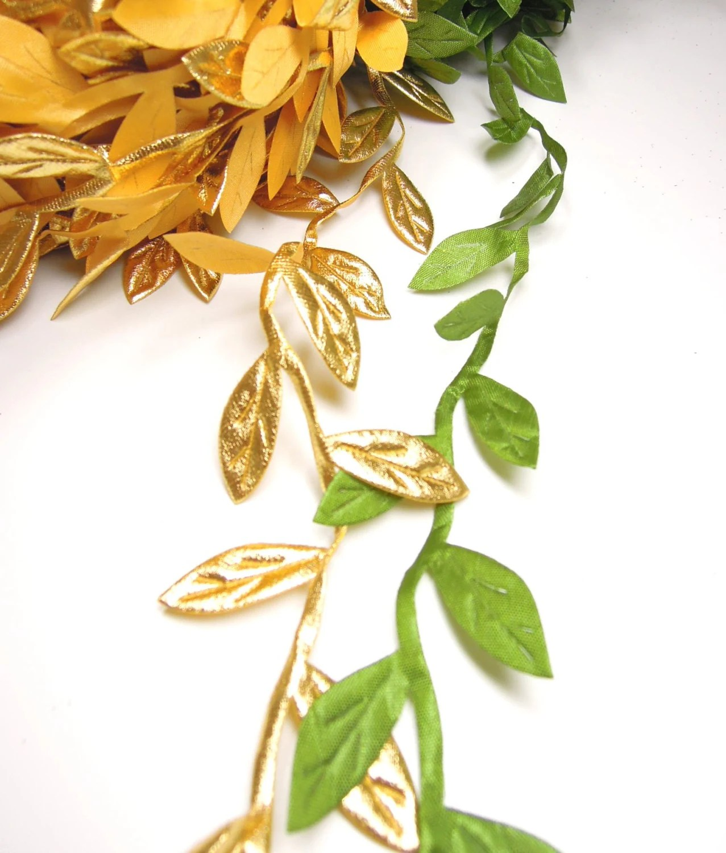 3 Yds Leaf Ribbon For Crafts Gold Leaf Ribbon Green Leaves