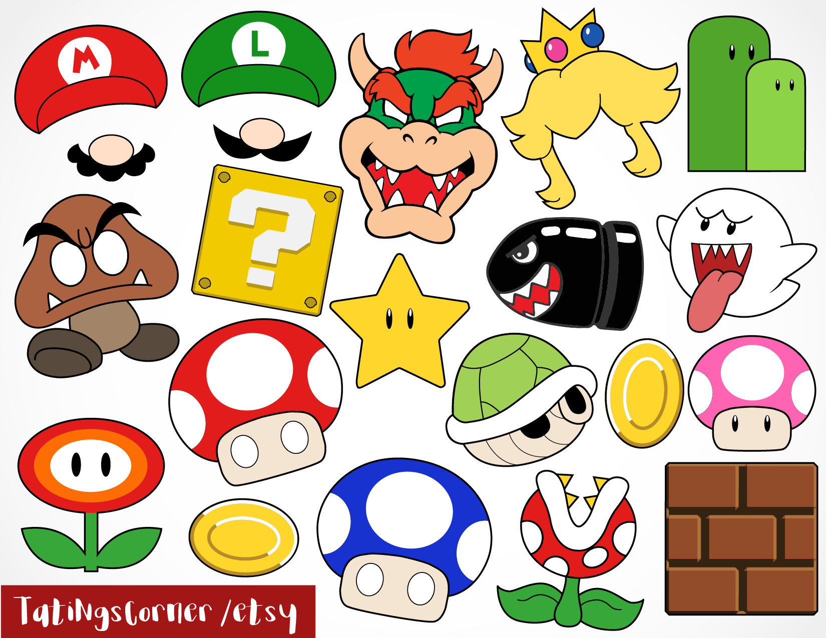 Super Mario Photo Booth Props Mario Party Themed Props