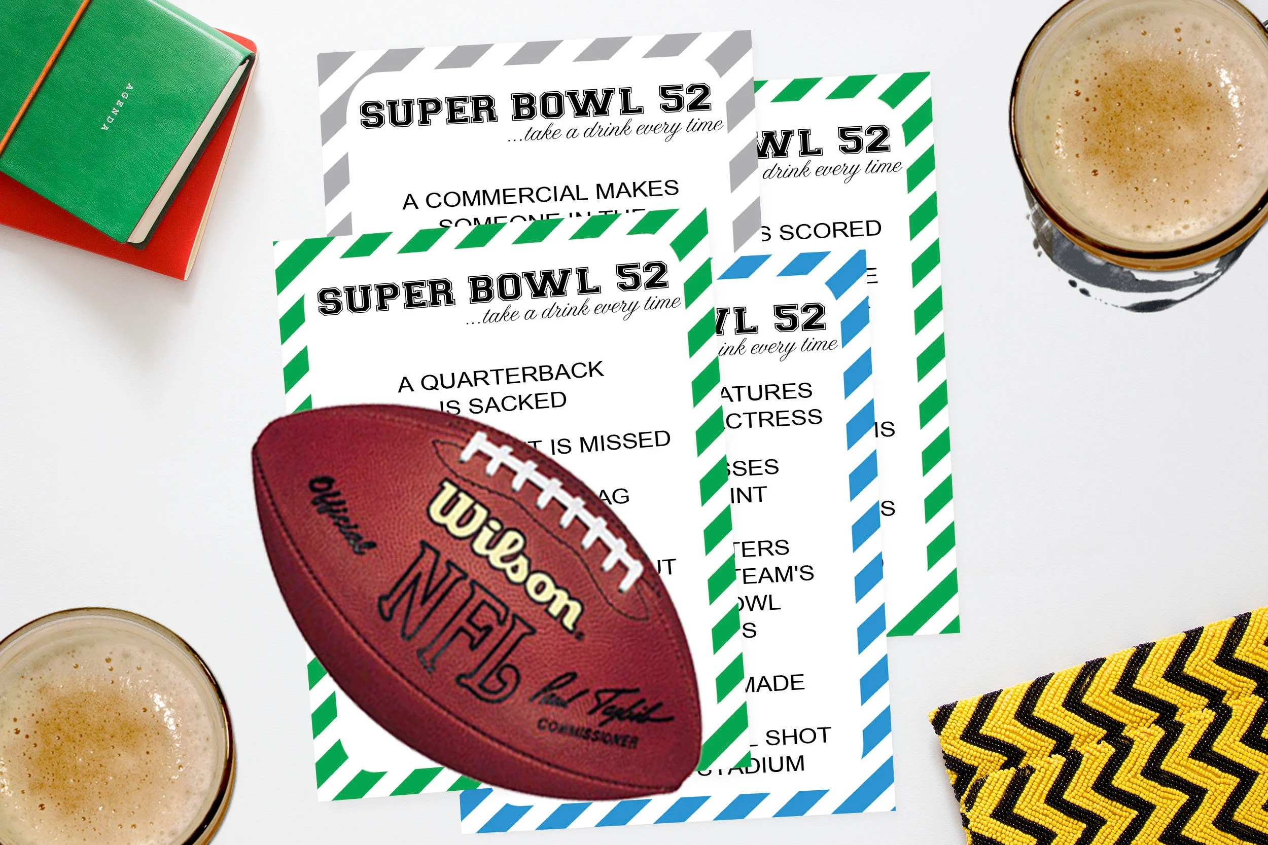 Super Bowl Drinking Game Printable Lii Superbowl 52