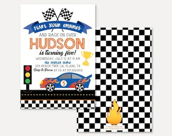 race car invitations etsy