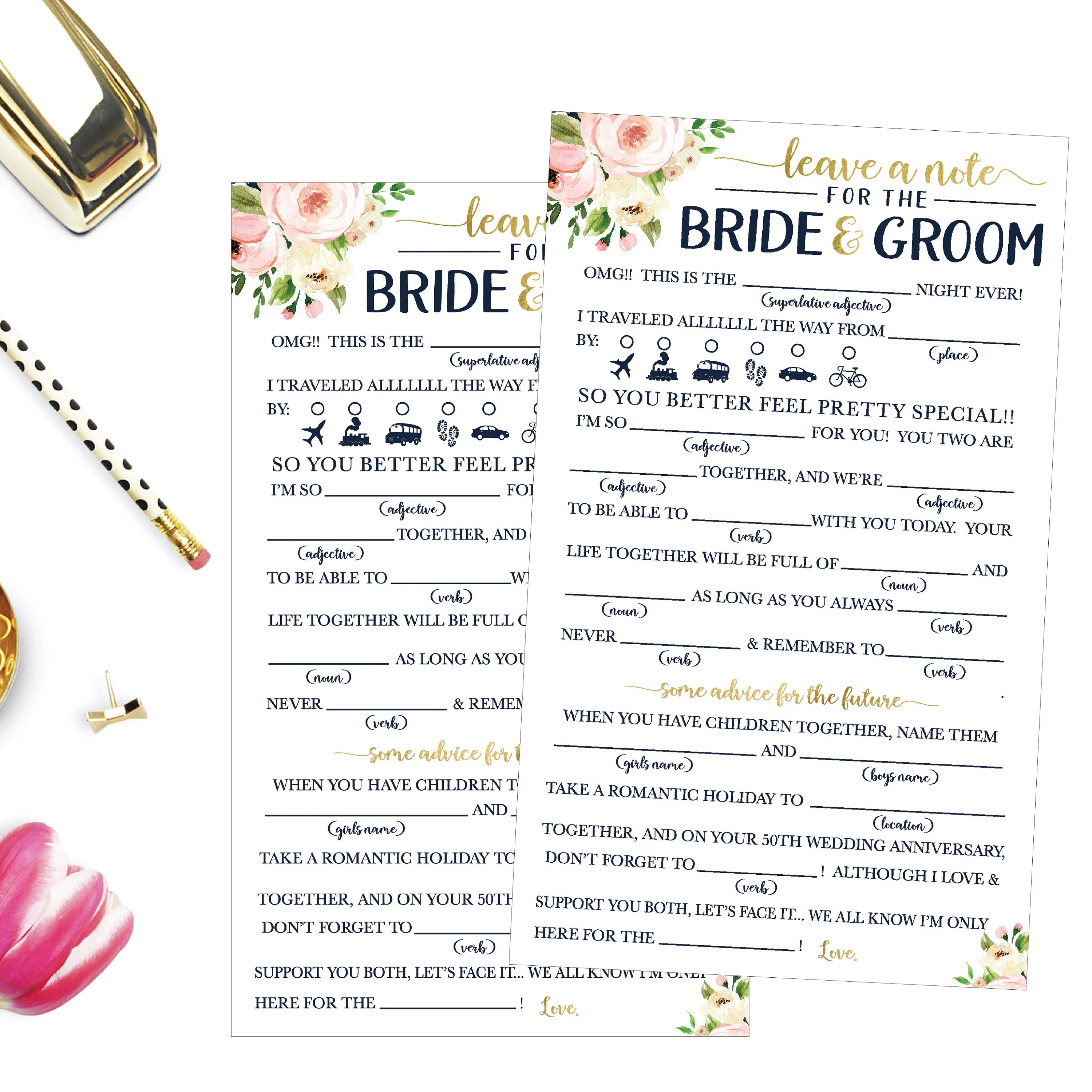Funny Advice For The Newlyweds Mad Libs Bridal Shower