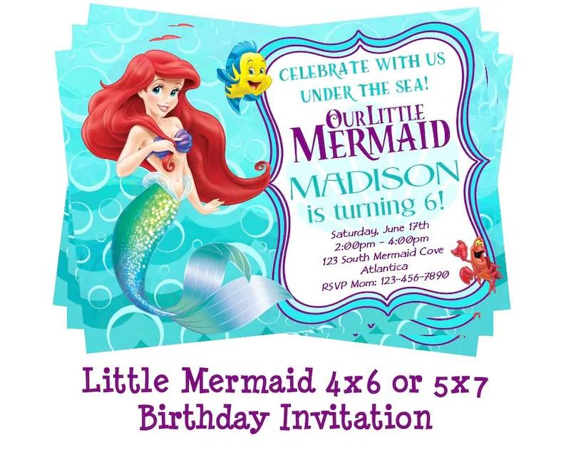 disney little mermaid invitation mermaid party ariel birthday invites ariel party invites printable 4x6 or 5x7 digital download