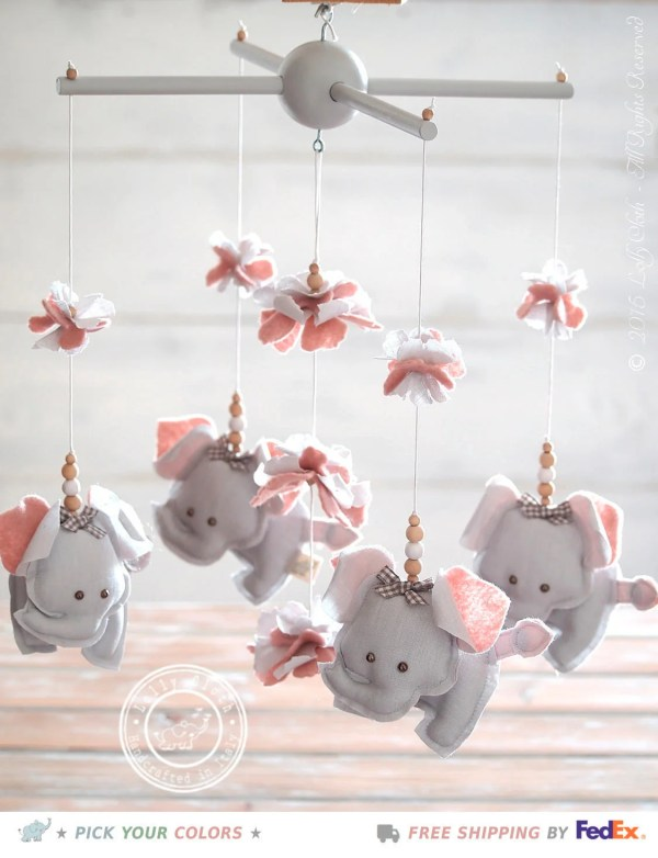 Grey & Pink Nursery Mobile Elephant Pink and Gray Elephant ...