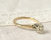 Vintage Diamond Engagement Ring ~ Round Diamond Solitaire...read more
