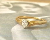 Pear Shape Vintage Diamond Ring ~ 14K Yellow Gold 1970's...read more