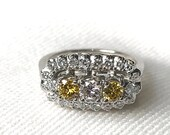 Vintage 3 Stone Diamond Engagement Ring ~  White &...read more