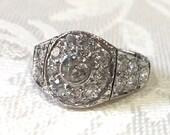 Vintage Engagement Rings, 18K White Gold Diamond Ring,...read more