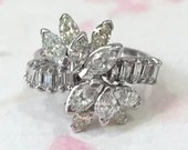 Marquise And Baguette Diamond Ring, Vintage 14K White...read more