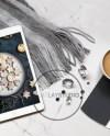 Ipad Mockup Latte Tea Cappuccino Or Coffee On Marble Etsy