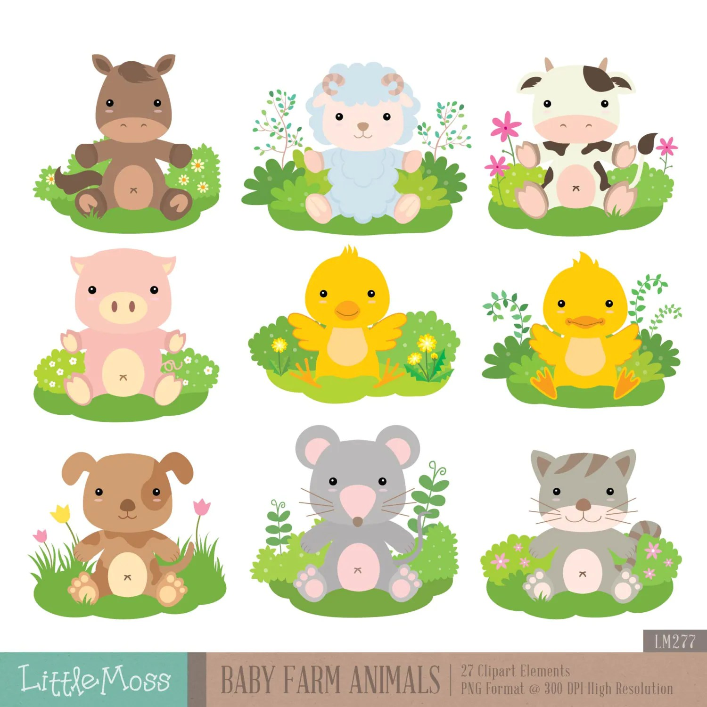 Baby Farm Animals Digital Clipart