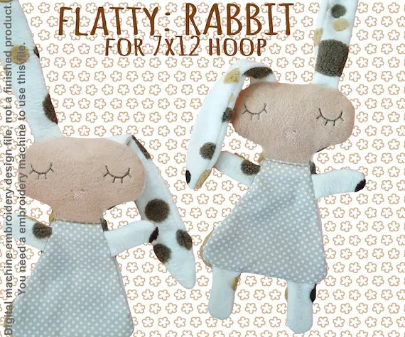 Cute RABBIT soft toy 7x12 hoop, Baby Toy Blanket comfy, toy, stofie, ITH, In The Hoop, Machine Embroidery Design File, digital download