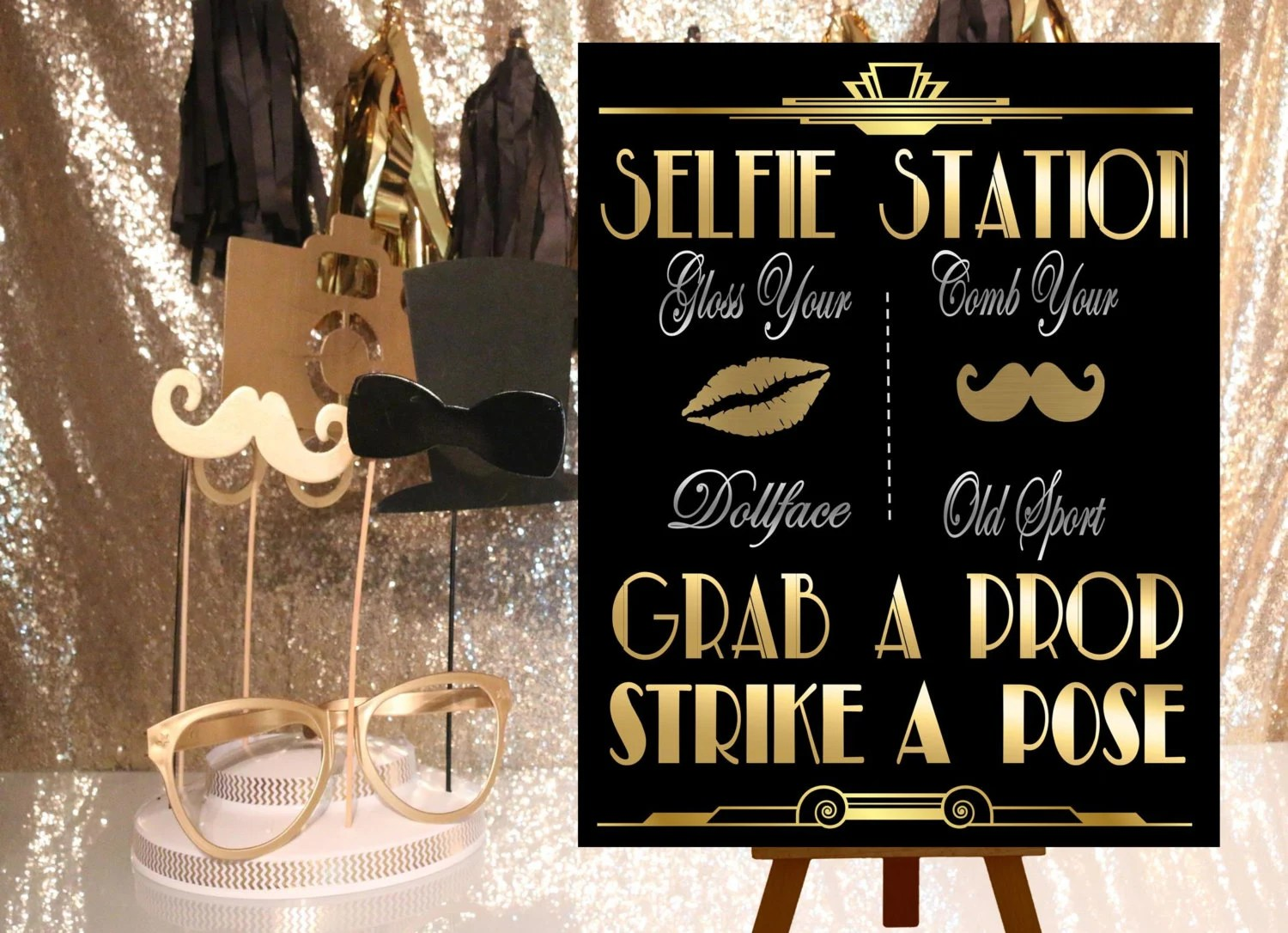 Great Gatsby Printables Selfie Station Photobooth