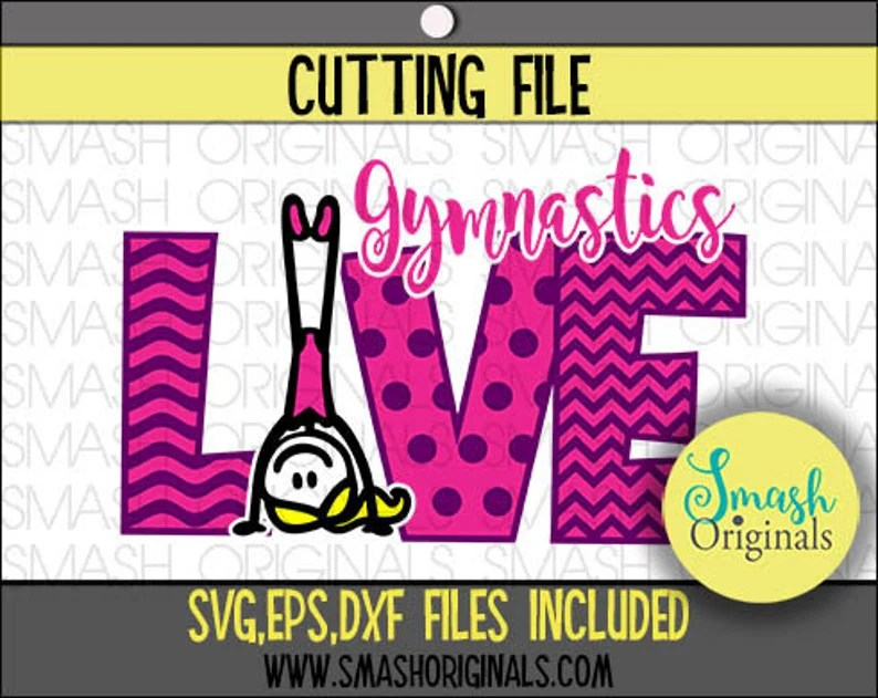 Download Love Gymnastics Cut File SVG EPS and DXF Cut Files for | Etsy