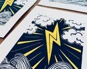 Lightning Handmade Art Print Linocut Sea Storm Cloudy