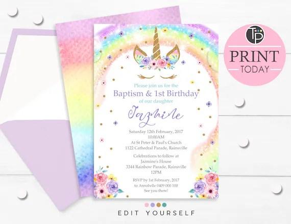 rainbow unicorn baptism invitation rainbow unicorn baptism 1st birthday invitation instant download unicorn baptism invitation editable 0210