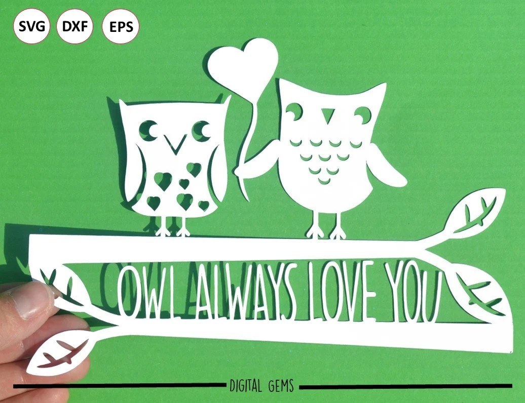 Download Owl always love you paper cut svg / dxf / eps / files and ...