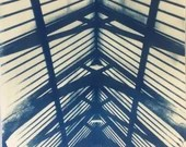 Handmade architectural cyanotype print - positive version (unframed)
