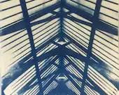 Handmade architectural cyanotype print - positive version (unframed)