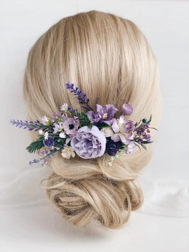 flower hair comb, lavender hair comb, wedding hair piece, purple hair comb