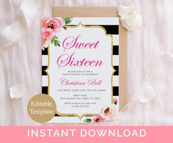 sweet 16 invitation template 16th