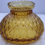 Antique Fenton 7 Inch Oil Lamp Shade Light Amber Glass Diamond Quilted Replacement Globe Kerosene Lampshade Quilt Pattern Vintage