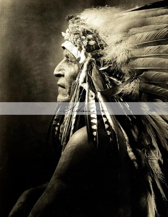 Vintage Native American Indian Chief Headdress Profile Etsy