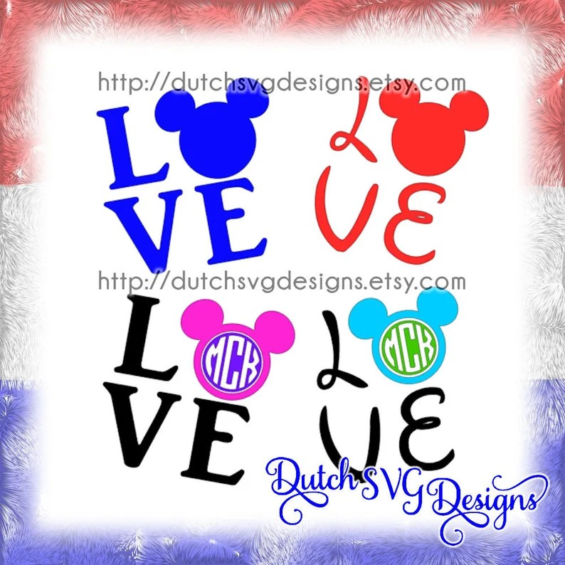 Download Text cutting file Love with Mickey Mouse head in Jpg Png ...