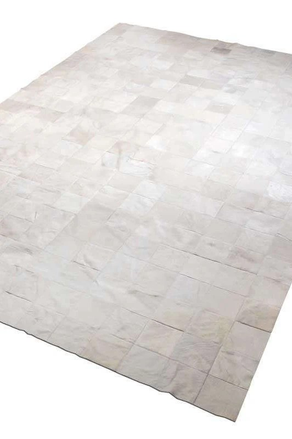 white cowhide patchwork rug squares design no 234 custom sizes