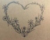 Black Vine Heart Greeting Card