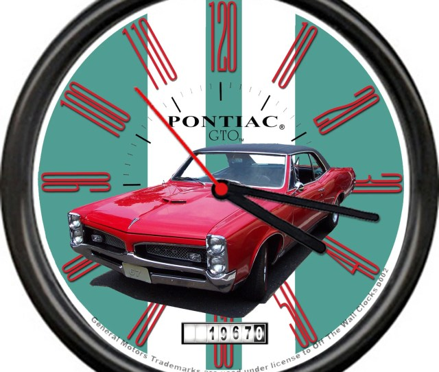 1967 Red Pontiac Gto 2 Door Sedan 67 Retro Vintage Sign General Motors Licensed Wall Clock
