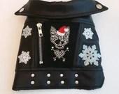 Dog Faux Leather Jacket-LET IT SNOW-size 10