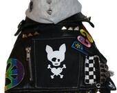 Custom Faux Leather Dog Jacket - Size Small (10)